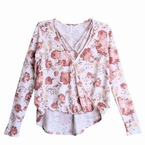 Sage Surplice Floral Print High-low Stretchy Top